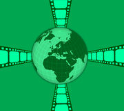 Film world. Illustration about the movie industry arround the world with green colour background Royalty Free Stock Photography