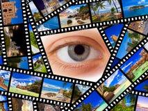 Film z podróży okiem i fotografiami zdjęcia stock
