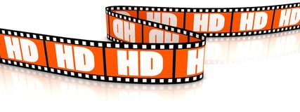 Film zigzag with word HD. 3d film zigzag with word HD on it Royalty Free Stock Image