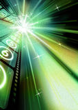 Film2. Filmstrip Sparkling Starburst Green Hue Black Background royalty free illustration