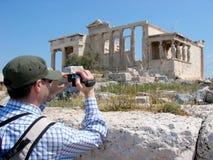 Filmación del Erecthion en Atenas Imagenes de archivo