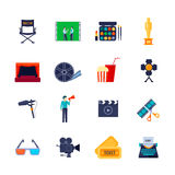 Filmaking Attributes Flat Icons Collection. Filmmaking and movie watching attributes flat icons collection with camera film bobbin and 3d glasses  vector Stock Photos