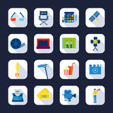 Filmaking Flat Icons Collection Black Background Royalty Free Stock Image