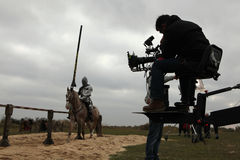 Filmande av den nya filmen riddarna Fotografering för Bildbyråer