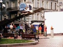 Filmar no centro de Kiev Fotos de Stock Royalty Free