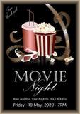 Filmbanner Popcorndoos met kola en 3D glazen Stock Afbeeldingen