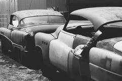 Filmbeeld zwart & wit Buick lowrider stock afbeelding