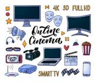 Filmbest?ndsdelar i klotterstil p? vit bakgrund Grafisk tecknad filmillustration Handteckningslinje konstsymbol Mall f?r direktan stock illustrationer