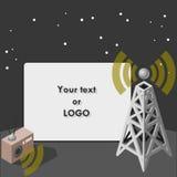 Filmbildschirm mit Antenne und bidirektionalem Funk Stockbild