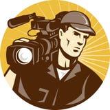 Filmcamera van de Bemanning van de Film van de cameraman de Pro Video Stock Afbeelding