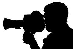 Filmcamera van de silhouet de gebaarde Mens opzij Stock Afbeeldingen