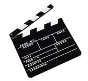 Filmclapperbräde mot vit bakgrund arkivbilder