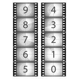 Filmcountdown. Vektor. Stockbilder