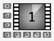 Filmcountdownzahl-Vektorsatz Lizenzfreies Stockfoto