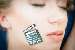 Filme adulto erótico do símbolo louro 'sexy' da cara da mulher foto de stock royalty free
