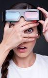 Filme de observação da mulher Imagem de Stock Royalty Free