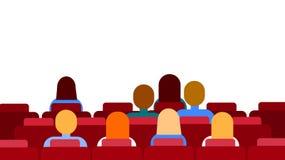 Filme de observação de assento do grupo dos povos do espaço de Hall Empty Screen With Copy do cinema ilustração stock