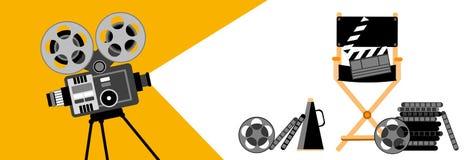 Filme de tira retro do projetor de filme da bandeira do cinema Fotografia de Stock