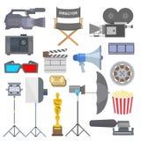 Filme do cinema que faz a vetor dos ícones dos símbolos do equipamento das ferramentas do programa televisivo ilustração ajustada ilustração stock