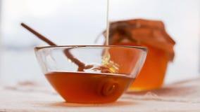 Filme do gotejamento do mel Alimento tradicional da celebração pelo ano novo judaico Conceito Rosh Hashana vídeos de arquivo