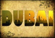 Filme do grunge do vintage da ilustração de Dubai 3D Imagem de Stock