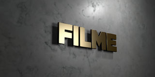 Filme - Gold sign mounted on glossy marble wall  - 3D rendered royalty free stock illustration Stock Photography