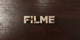 Filme - grungy wooden headline on Maple  - 3D rendered royalty free stock image Stock Photography