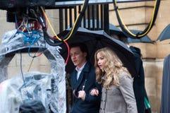 Filme Jennifer Lawrence James McAvoy ajustada da primeira classe de Xmen Imagem de Stock