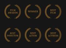 Filme los ganadores de los premios de la Academia y las mejores guirnaldas del oro del candidato en fondo negro ilustración del vector