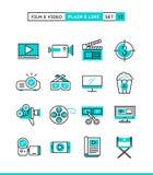 Filme, vídeo, tiro, edição e mais Planície e linha SE dos ícones ilustração stock