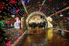Festive decoration of the streets on the occasion of New year and Christmas, Moscow, Russia. Filmed at night. Lighting and festive decoration of the city on the Stock Photo