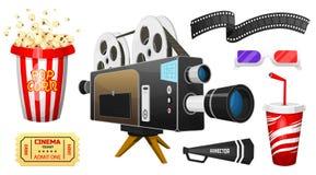Filmelementsatz Weinlesekino, -unterhaltung und -erholung mit Popcorn Retro Plakathintergrund Clapperboard und stock abbildung
