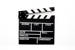 Filmemacherberuf Clapperboard auf Draufsicht des weißen Hintergrundes lizenzfreies stockbild