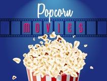 Filmen filmar rullen och popcorn royaltyfri illustrationer
