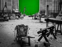 Filmen gesetzt mit grünem Schirm Stockbild