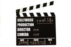 Filmen kritiserar - filmclapperboard Verkliga livet fotografering för bildbyråer