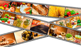 Filmen Sie Streifen-NahrungsmittelMontage-Menü-Salat-Teigwaren-Brot Stockfotografie