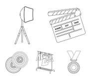 Filmer, disketter och annan utrustning för bion Symboler för samling för danandefilmuppsättning i översikt utformar vektorsymbol vektor illustrationer