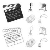 Filmer, disketter och annan utrustning för bion Symboler för samling för danandefilmuppsättning i översikten, monokrom stilvektor royaltyfri illustrationer