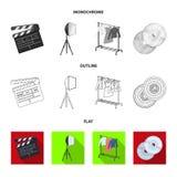 Filmer, disketter och annan utrustning för bion Symboler för samling för danandefilmuppsättning i lägenheten, översikt, monokrom  royaltyfri illustrationer