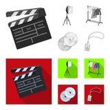 Filmer, disketter och annan utrustning för bion Symboler för samling för danandefilmuppsättning i monokrom, lägenhetstilvektor vektor illustrationer