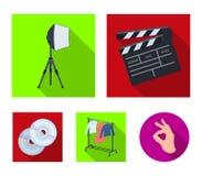 Filmer, disketter och annan utrustning för bion Symboler för samling för danandefilmuppsättning i plant materiel för stilvektorsy royaltyfri illustrationer
