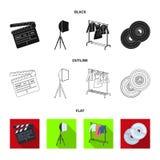 Filmer, disketter och annan utrustning för bion Symboler för samling för danandefilmuppsättning i svart, lägenhet, översiktsstilv vektor illustrationer