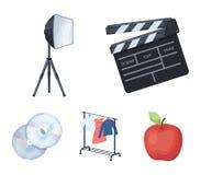 Filmer, disketter och annan utrustning för bion Symboler för samling för danandefilmuppsättning i tecknad film utformar vektorsym stock illustrationer
