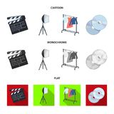 Filmer, disketter och annan utrustning för bion Symboler för samling för danandefilmuppsättning i tecknade filmen, lägenhet, mono royaltyfri illustrationer