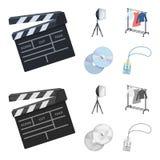 Filmer, disketter och annan utrustning för bion Symboler för samling för danandefilmuppsättning i tecknade filmen, monokrom stilv royaltyfri illustrationer