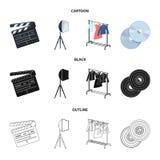 Filmer, disketter och annan utrustning för bion Symboler för samling för danandefilmuppsättning i tecknade filmen, svart, översik stock illustrationer