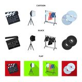 Filmer, disketter och annan utrustning för bion Symboler för samling för danandefilmuppsättning i tecknade filmen, svart, lägenhe royaltyfri illustrationer