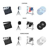 Filmer, disketter och annan utrustning för bion Symboler för samling för danandefilmuppsättning i tecknade filmen, svart, monokro stock illustrationer