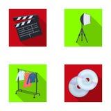 Filmes, discos e o outro equipamento para o cinema Fazendo ícones da coleção do grupo de filmes no estilo liso vector o estoque d ilustração stock